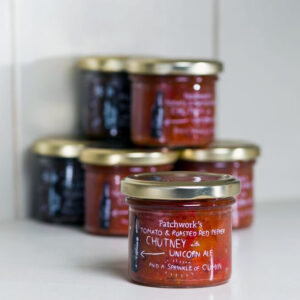 Tomato & roasted red pepper chutney with unicorn ale and a sprinkle of cumin